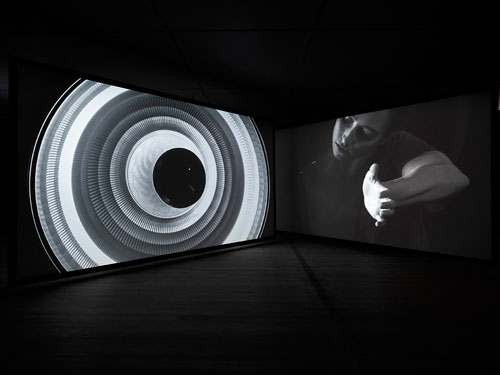 Gail Pickering. Near Real Time, 2014. Installation view (2). Three-channel video installation, sync sound, colour and