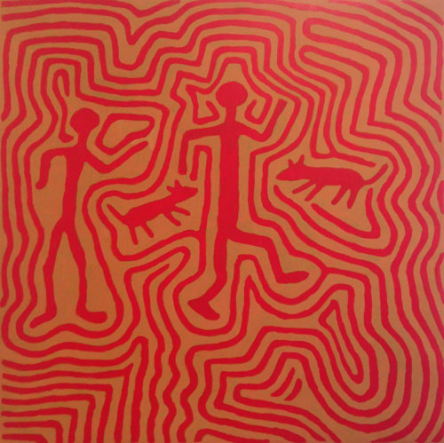 Jimmy Pike. Jamirtilangu, 2002. Synthetic polymer paint on canvas, 91 x 91 cm. Copyright the estate of the artist and Rebecca Hossack Art Gallery.