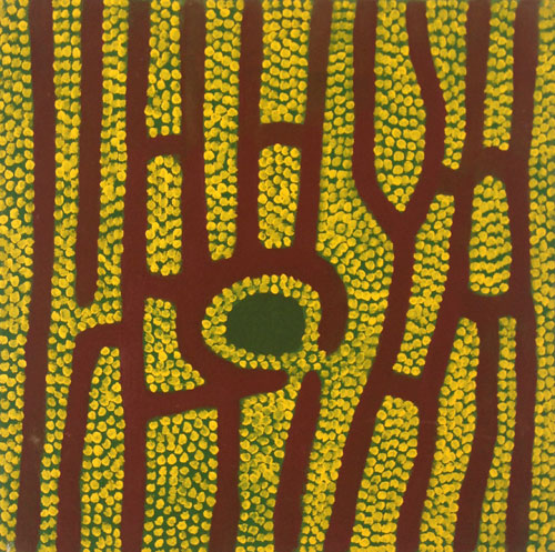 Jimmy Pike. Jumu, undated. Acrylic on canvas, 45 x 45 cm. Copyright the estate of the artist and Rebecca Hossack Art Gallery.