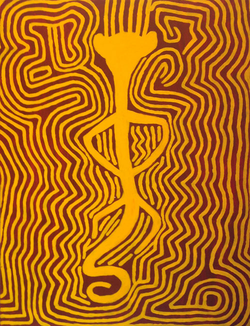 Jimmy Pike. Kalpurtu I, 2000. Acrylic on light pre-primed linen, 121 x 91 cm. Copyright the estate of the artist and Rebecca Hossack Art Gallery.