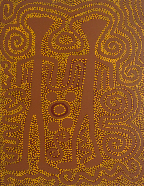 Jimmy Pike. Parnaparnti and Kurntimaru II (Yellow Goanna and Black Goanna). Synthetic polymer paint on canvas, 122 x 91 cm. Copyright the estate of the artist and Rebecca Hossack Art Gallery.