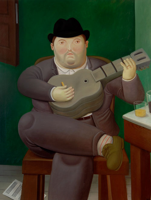 Fernando Botero. <em>Man with the Guitar</em>, 1989. Oil on canvas, 165 x 127 cm.