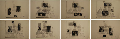 Felipe Ehrenberg. <em>Información selectiva / selección informativa (new from the Front)</em>, 1976–1977. Eight original copies, 25.5 x 38 cm c/u. Courtesy Felipe Ehrenberg.