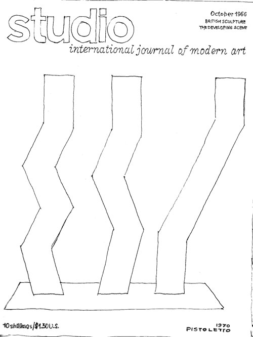 Michelangelo Pistoletto. Reproduced in Studio International, July/August 1970, Book Supplement. A graphic replication, in line, of a previous Studio International cover, that of October 1966 (a sculpture by William Turnbull, 3,4,5 (1966), steel, painted red and orange).