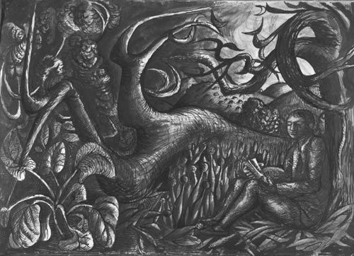John Craxton. <em>Poet in Landscape, </em>1941. Ink and wash on paper. Lent by the artist