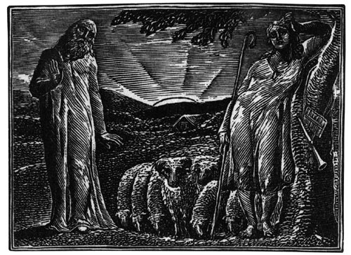 William Blake, <em>Thenot remonstates with Colinet, Lightfoot in the Distance.</em> From <em>Illustrations to Pastorals of Virgil,</em> 1821. Wood engraving on paper. Southampton City Art Gallery, David Brown Bequest