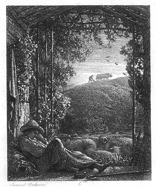 Samuel Palmer, <em>The Sleeping Shepherd – Early Morning,</em> c.1854-1857. Etching on paper. Private collection, formally the property of Paul Drury PPRE
