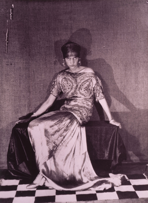 Peggy Guggenheim wearing a dress by Paul Poiret, 1923. Photograph by Man Ray © 2007 Artists Rights Society (ARS), New York / ADAGP, Paris © 2007 Man Ray Trust / Artists Rights Society (ARS), New York / ADAGP, Paris