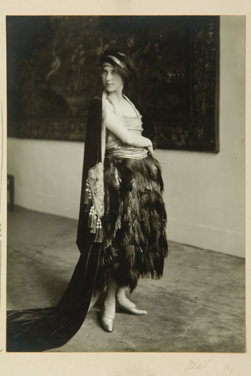 Denise Poiret in Paul Poiret's 'Faune' ensemble, 1919. Photograph by Delphi. Photograph courtesy of Les Arts Décoratifs, Fonds photographique patrimonial UFAC conservé au Musée de la Mode et du Textile, Paris.  Tous droits réservés © 2007 Artists Rights Society (ARS), New York / ADAGP, Paris