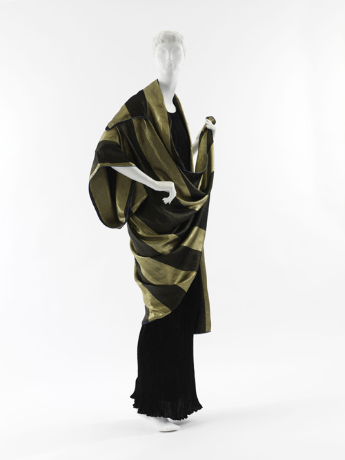 Paul Poiret (French, 1879–1944). Evening Wrap, 1918. Black silk and gold lamé striped satin weave jacquard. The Metropolitan Museum of Art, Milla Davenport and Zipporah Fleisher Fund, 2005