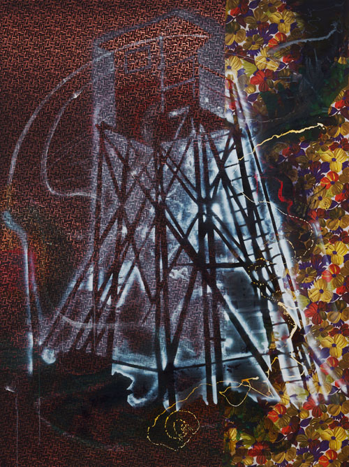 Sigmar Polke. Watchtower (Hochsitz), 1984. Synthetic polymer paints and dry pigment on patterned fabric, 118 x 88.5 in (300 x 224.8 cm). The Museum of Modern Art, New York. Fractional and promised gift of Jo Carole and Ronald S. Lauder.