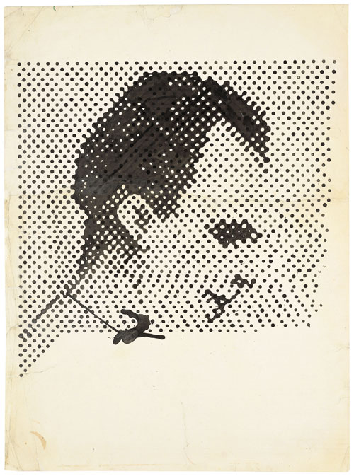 Sigmar Polke. Raster Drawing (Portrait of Lee Harvey Oswald) (Rasterzeichnung (Porträt Lee Harvey Oswald)), 1963. Poster paint and pencil on paper, 37 5/16 × 27 1/2 in (94.8 × 69.8 cm). Private Collection. Photograph: Wolfgang Morell, Bonn. © 2014 Estate of Sigmar Polke/ Artists Rights Society (ARS), New York / VG Bild-Kunst, Bonn.