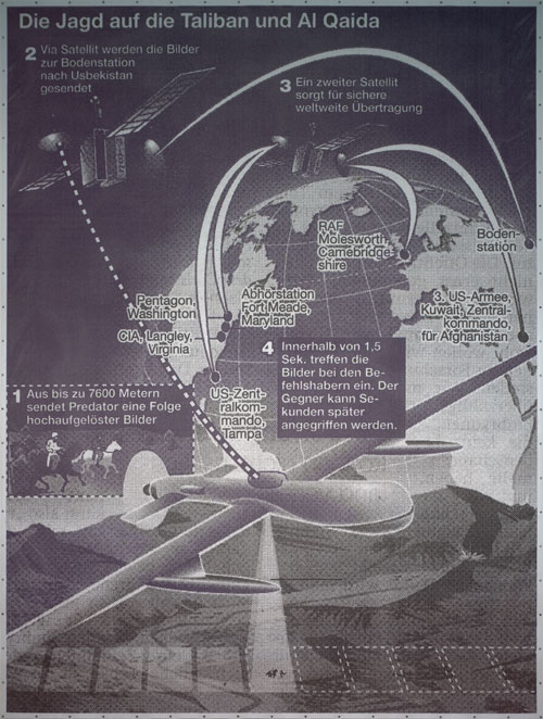 Sigmar Polke. The Hunt for the Taliban and Al Qaeda (Die Jagd auf die Taliban und Al Qaida), 2002. Digital print on tarpaulin, 21′ 4 5⁄16″ x 16′ 1 1⁄8″ (651 x 490.5 cm). Private Collection. © 2014 Estate of Sigmar Polke/ Artists Rights Society (ARS), New York / VG Bild-Kunst, Bonn.