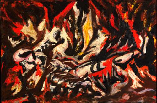 Jackson Pollock. The Flame, c1934-38. Oil on canvas, mounted on fibreboard, 20 1/2 x 30 in (51.1 x 76.2 cm). The Museum of Modern Art, New York. © 2015 Pollock-Krasner Foundation / Artists Rights Society (ARS), New York.