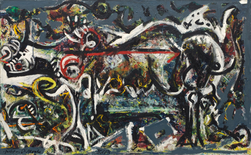 Jackson Pollock. The She-Wolf, 1943. Oil, gouache and plaster on canvas, 41 7/8 x 67 in (106.4 x 170.2 cm). The Museum of Modern Art, New York. © 2015 Pollock-Krasner Foundation / Artists Rights Society (ARS), New York.