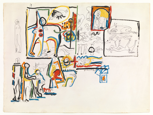 Jackson Pollock. Untitled (Animals and Figures), 1942. Gouache and ink on paper, 22 ½ x 29 7/8 in (57.1 x 76 cm). The Museum of Modern Art, New York. © 2015 Pollock-Krasner Foundation / Artists Rights Society (ARS), New York.