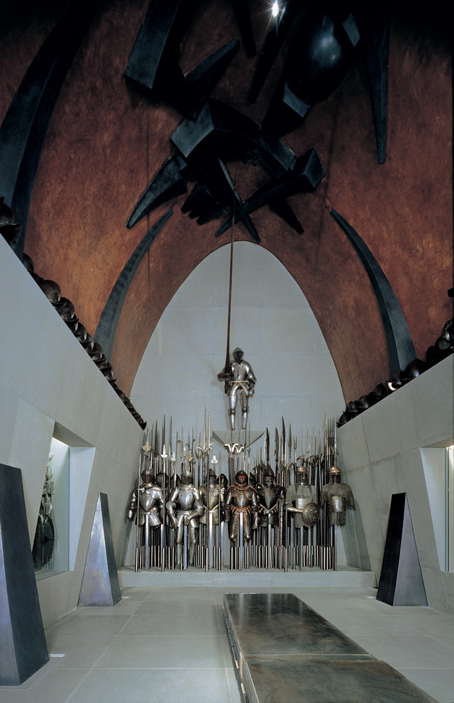 Arnaldo Pomodoro. Armour room, 1998-2000. Poldi Pezzoli Museum, Milan. Vault treated with copper; sculptural elements in fibreglass covered in lead laminate, 14 x 4 m. Photograph: Vaclav Sedy.