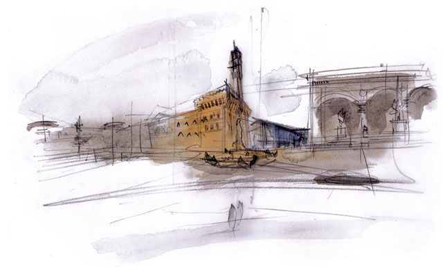 Andrea Ponsi. Florence, 2008. Watercolour on paper, 25 x 35 cm.