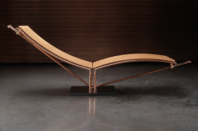 Andrea Ponsi. Sabi Chaise Longue, 1988. Copper, wood, 300 x 85 x 95(h) cm. Photograph: Arrigo Coppitz.