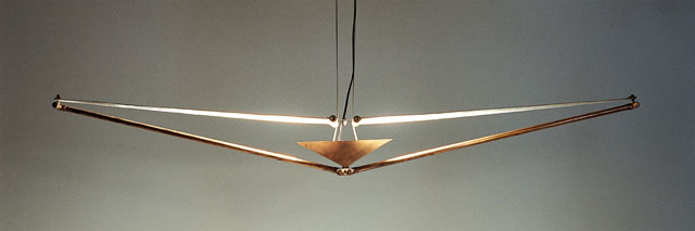 Andrea Ponsi. Sky lamp, 1987. Copper, fabric, 140 x 30 x 30 cm.  Photograph: Carlo Fei.