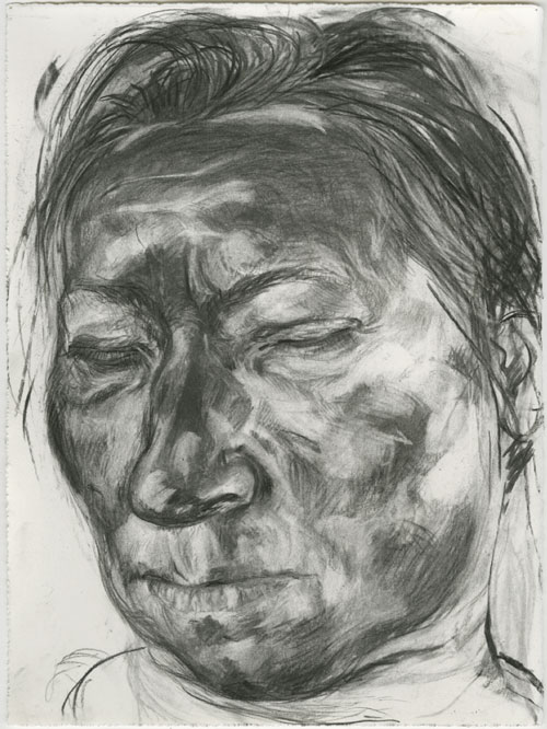 Anita Taylor. Narcoleptic, 2004. Charcoal on paper, 38 x 28 cm.