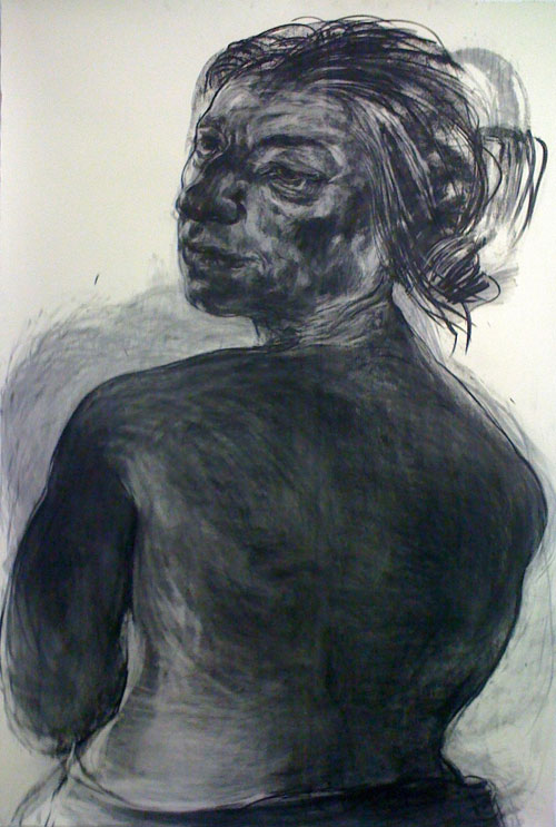 Anita Taylor. Glance, 2012. Charcoal on paper, 225 x 155 cm.