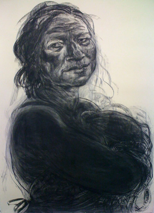 Anita Taylor. Vestiges, 2012. Charcoal on paper, 220 x 155 cm.