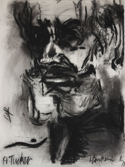 Irene Barberis. Albert Tucker, 1991. Charcoal on arches, 76 x 57 cm.