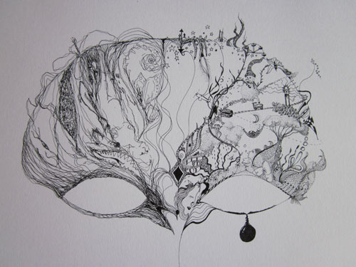 Helen Sturgess. Of Two Minds, (left and right hand drawing), 2013. Ink on paper, 28 x 39 cm.