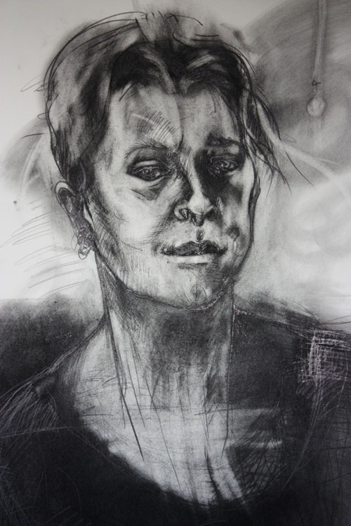 Irene Barberis. Self Portrait, January 2013. Graphite on paper, 108 x 78 cm.