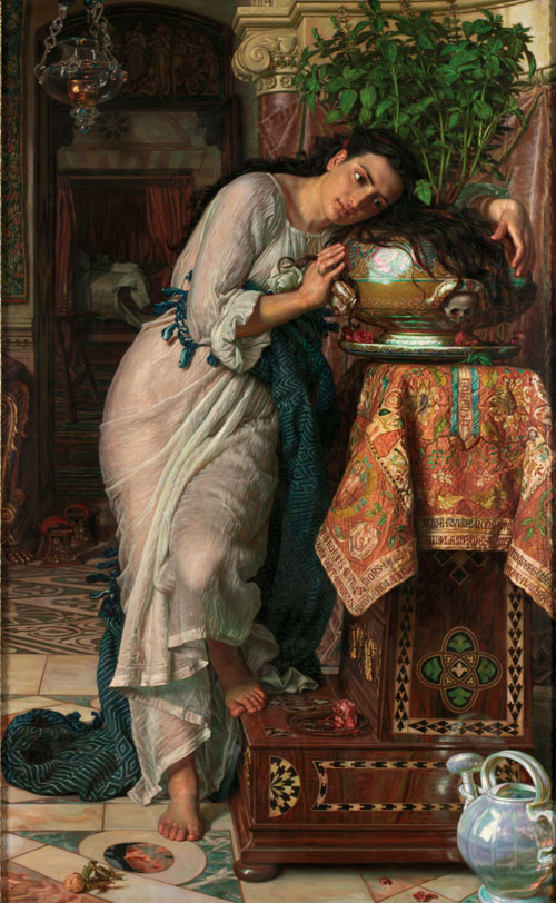 William Holman Hunt. Isabella and the Pot of Basil, 1866-8, retouched 1886. Laing Art Gallery, Newcastle upon Tyne.