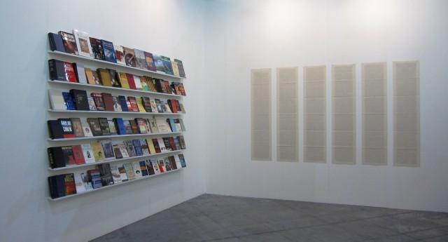 Julien Prévieux, Forget the Money, 2011. Bernard Madoff's books, Inkjet prints and sound (voice: Charlie Jeffery), variable dimensions. Courtesy Galerie Jousse Entreprise, Paris. Photograph © Julien Prévieux.