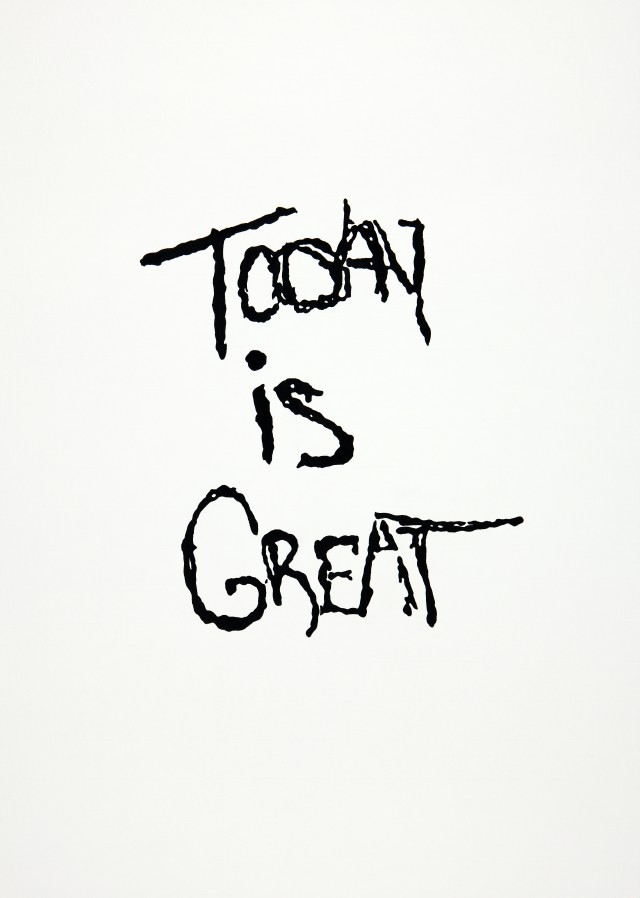 Julien Prévieux. Today is Great, 2014. Indian ink on paper, 15.75 x 22 in. Courtesy Galerie Jousse Entreprise, Paris.
