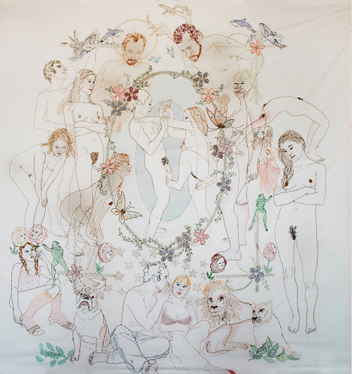<strong>Orly Cogan</strong>.        <em>Second Nature, </em>2007.  Hand-embroidered cotton and silk ribbon on queen-sized vintage bed linen.  74 x 74 in. (188 x 188 cm).  Collection of the artist. Photo: Daniel Mier