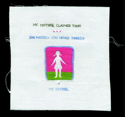 <strong>Andrea Dezs&ouml;</strong>.        <em>She Wished She Never Married </em>from<em> My Mother Claimed </em>series, 2005-2006.  Hand-embroidered cotton thread on cotton canvas<br> 6 x 6 in. (15.2 x 15.2 cm). Collection of the artist. Photo: Andrea Dezs&ouml;