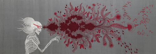 <strong>Angelo Filomeno</strong>.        <em>Death of Blinded Philosopher</em>, 2006.  Embroidery on silk shantung, linen, and crystals.  42 x 122 in. (106.7 x 309.9 cm).  Collection of the artist; courtesy Galerie Lelong, New York. Photo: Michael Bodycomb