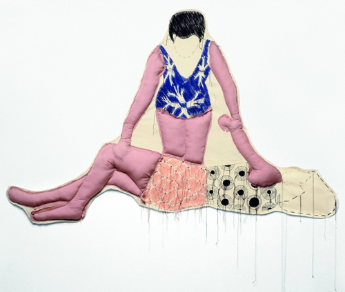 <strong>Sybille Hotz</strong>.           <em>Wenden</em>, 2007.          Hand-embroidered cotton and cotton/wool yarn on cotton cloth, acrylic stuffing.          45 1/4 x 70 1/16 x 3 1/8 in. (115 x 178 x 8 cm).        Collection of the artist; courtesy &acute;Deck-Galerie f&uuml;r aktuelle Kunst, Stuttgart, Germany. Photo: Lutz Bertram, Berlin