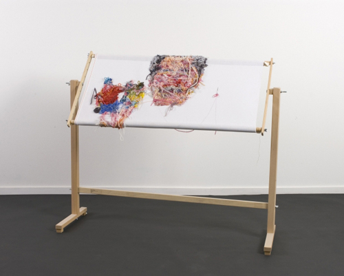<strong>Simon Withers</strong>.          <em>Stories from Nanna Roosie</em>, 2004.          Hand-embroidered wool and cotton yarns on 12-count cotton Interlock canvas, beech wood embroidery frame, steel needle<br>         38 3/16 x 40 15/16 x 13 in. (97 x 104 x 33 cm).        Collection of the artist. Photo: Nick Dunmur
