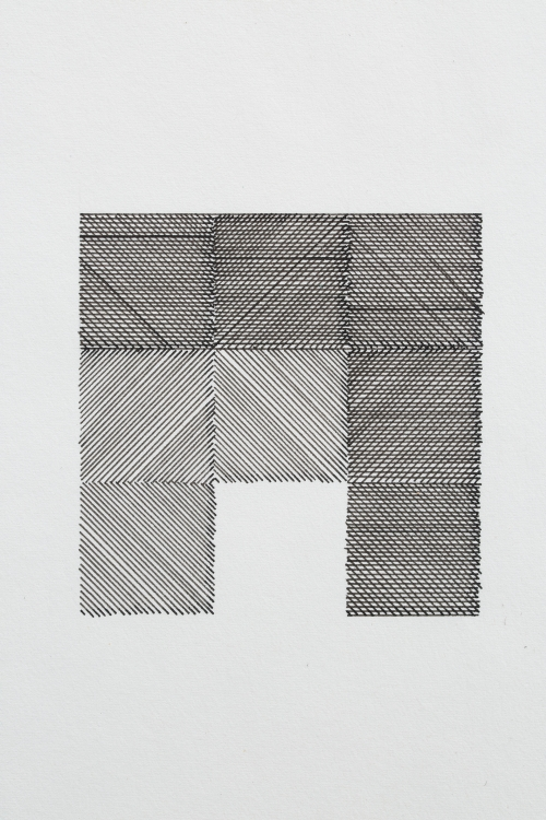 Primary Codes. Ernest Edmonds, Black and white drawing, 1976/77. Photograph: Thales Leite.