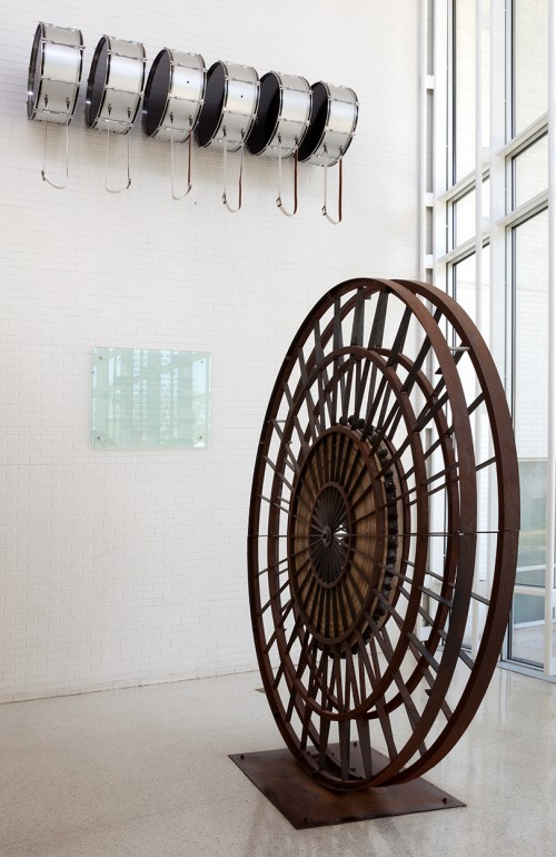 Terry Adkins. Ezekiel Double Drums, 2009 & Ezekiel Wheel, 2009. Mixed media. Courtesy Dillard University, New Orleans.