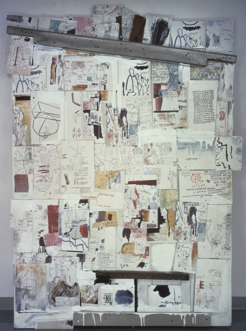 Jean-Michel Basquiat. Natchez, 1985. Acrylic, wood and colour xeroxes on plywood mounted on wooden doors, 85 x 60.63 x 4 in. Galerie Andrea Caratsch, Zurich. © The Estate of Jean-Michel Basquiat / ADAGP, Paris / ARS, New York 2014.