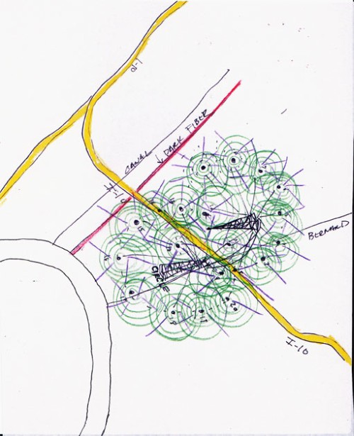 Mary Ellen Carroll. Public Utility 2.0 (Drawing of Nodes for a Mesh Network in Conjunction with Super Wi-Fi Towers and Connectivity in New Orleans), 2014. Ink on paper, 10 × 8 in (25.4 × 20.3 cm). Courtesy the artist.
