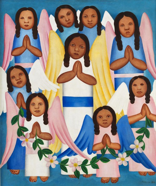 Tarsila do Amaral. Angels, 1924. Oil on canvas, 33.66 x 28.54 in. Gilberto Chateaubriand Collection, MAM RJ, Rio de Janeiro, Brazil.