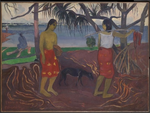 Paul Gauguin. Under the Pandanus (I Raro te Oviri), 1891. Oil on canvas, 38 ½ x 47 ¾ x 3 ½ in. Courtesy of Dallas Museum of Art, Foundation for the Arts Collection, gift of the Adele R. Levy Fund, Inc.