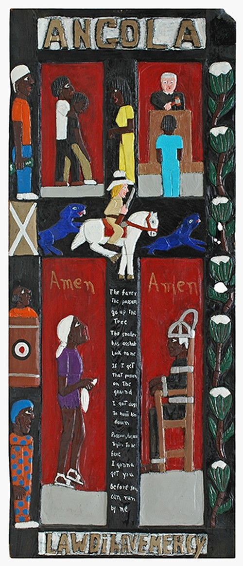 Herbert Singleton. Angola, n.d. (1990s). Painted wood bas relief, 81 x 33.5 x 1.25 in. Gordon W Bailey Collection.