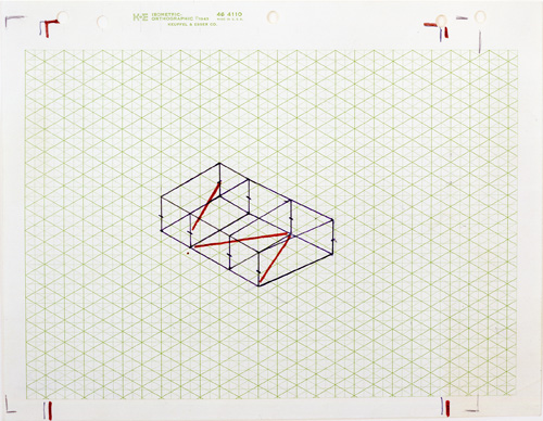 Fred Sandback. Untitled (Study for Kunstraum Munich), c1975. Felt tip pen, marker and pencil on isometric paper, 8 1/2 x 11 in (21.6 x 37.9 cm). Estate of Fred Sandback, Courtesy David Zwirner, New York/London.