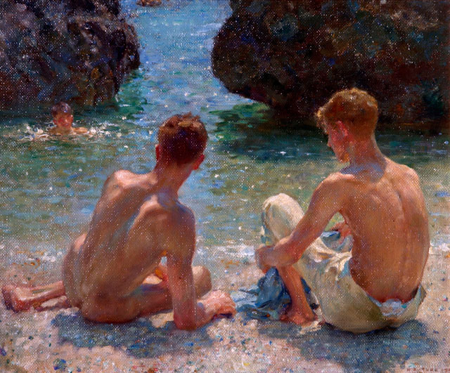 Henry Scott Tuke. The Critics, 1927. Oil on board, 41.2 x 51.4 cm. Warwick District Council (Leamington Spa, UK).