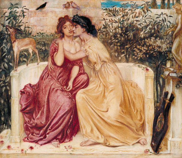 Solomon, Simeon. Sappho and Erinna in a Garden at Mytilene, 1864. Watercolour on paper, 33 x 38.1 cm. Tate. Purchased 1980.
