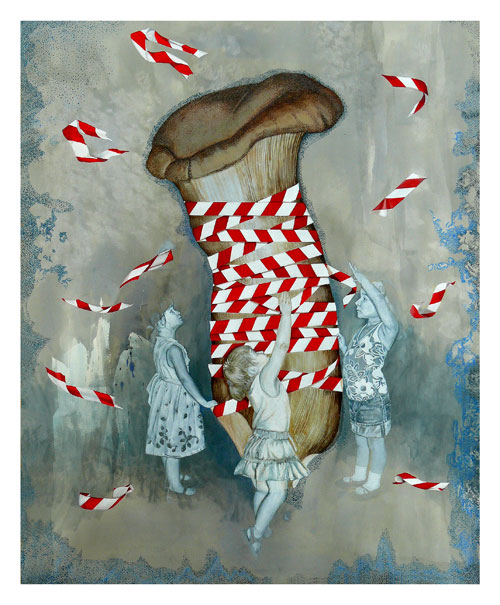 Saba Qizilbash. Not For the Faint of Heart, 2009. Acrylic on paper, 127 x 101.6 cm.