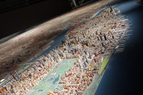 Panorama. 9,335 sq ft model of all five boroughs of the City of New York, 1:1,200 scale, wood, plastic, paper and brass. The model was originally commissioned by the legendary Robert Moses for the 1964 World's Fair. Photograph: Miguel Benavides.